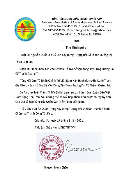 Ltr of Support from TH Cuu Tu Nhan Chinh Tri