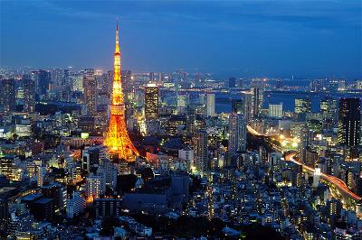 a_Tokyo Japan night time city scape