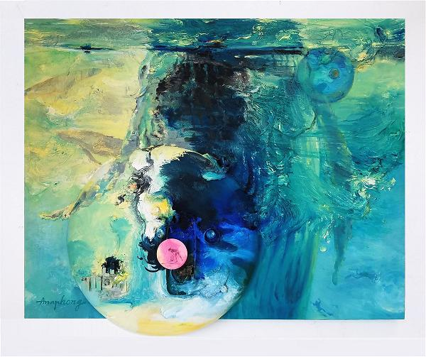 Ann Phong, The Act of Cleaning Up The Ocean Poluution, 32x42, Acrylic with found objects, 2020